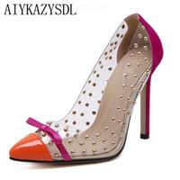 Wholesale high heels wedges bows for sale - Group buy Plus Size Women Pumps Transparent Clear PVC Rivet Bow High heel Stiletto Fashion Shoes Woman Patchwork Sexy