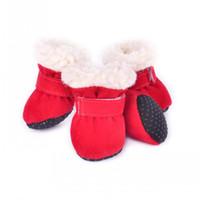 perro botas botas para mascotas al por mayor-Para el perro de invierno botas para el campo de nieve suave antideslizante mascotas zapato mantener caliente cachorro algodón acolchado zapatos populares 16qs BB