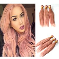 Wholesale malaysian human hair for weaving for sale - Group buy Pink Human Hair Weave Extensions Rose Gold Brazilian Straight Hair Bundles for