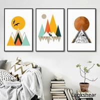 pinturas geométricas al por mayor-Geométricas abstractas Pinturas lona Poster modernos y grabados nórdica arte de la pared de imágenes para niños salas de estar Decoración No Frame