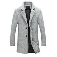 mens wolljacke erbsenmantel großhandel-Neue Mode Lange Trenchcoat Männer 40% Wolle Dicke Winter Herren Mantel Erbse Trenchcoat Männliche Jacke