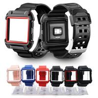 silikon tasche armband großhandel-2-in-1-Silikonarmband für Fibit-Blazer Uhrenarmbänder TPU-Gehäuseabdeckung Sportliche, bruchsichere Ganzkörper-Armbänder mit Flammenriemen