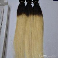 atkı insan saçı paketi toptan satış-Elibess Marka Ombre T1B / 613 İnsan düz dalga saç atkı 300g paketi, ücretsiz kargo
