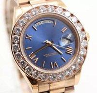 marca relógios diamantes venda por atacado-Relógios de luxo mens marca de ouro do presidente dia-diamantes diamantes homens relógio inoxidável mãe de pérola dial de diamante moldura automática relógio de pulso