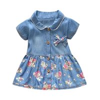 Wholesale newborn baby girl princess clothing resale online - Baby Girl Newborn Party Princess Denim Dress Clothes Vestidos Sukienki Elbise Floral Bow Vestido Infantil Robe Birthday Dresses