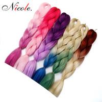 cabelos trançados coloridos venda por atacado-Cabelo Nicole dois tons coloridos Crochet Tranças Kanekalon 24