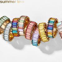 venda de jóias anéis de noivado venda por atacado-2019 Anéis de Noivado De Cristal Do Arco Íris Do Vintage para As Mulheres Da Moda Anéis de Marca Colorida de Festa de Jóias de Casamento Por Atacado Venda Quente