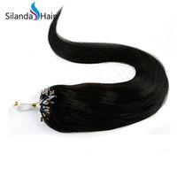 ingrosso pacchetti loop-Estensioni naturali dei capelli umani di Remy del ciclo di micro # 1B del nero di Silanda Hair # 1B collegamenti / pacchetto 50 fili / pacchetto Trasporto libero
