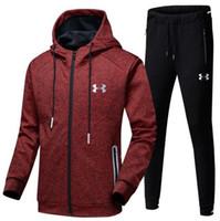 blouson blanc achat en gros de-Ensemble de jogging pour hommes d'automne pour hommes complets de survêtement avec zip complet blanc