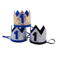 ingrosso cappelli di compleanno blu-Boy Blue Silver Primo compleanno Hat Girl Gold Pink Priness Crown Numero 1st 2 3 Year Old Party Glitter Compleanno fascia
