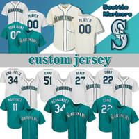 suzuki 11 großhandel-Seattle Custom Mariners-Trikot 27 Ryon Healy 22 Robinson-Kanus 34 Felix Hernandez 51 Ichiro Suzuki 11 Edgar Martinez-Baseball-Trikots