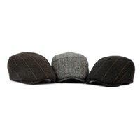 chapeaux britanniques pour les hommes achat en gros de-Vintage Berets Caps Pour Femmes Hommes Unisexe Français Béret Chapeau Artiste Chapeau Plat Bonnet En Laine Baret Angleterre Britannique Rayé Chapeaux Casquettes Gorro