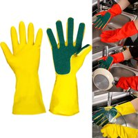 Wholesale kitchen finger gloves resale online - Kitchen Cleaning Gloves Home Washing Spone Cleaning Gloves Sponge Fingers Rubber Household Wash Dish Bowl Spoon Gloves Style WX9