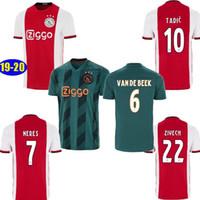 Wholesale ajax away soccer uniform resale online - SIZE S XL AJAX home red away Green NERES mens soccer jersey DE LIGT ZIYECH TADIC kids kit football Uniform shirts