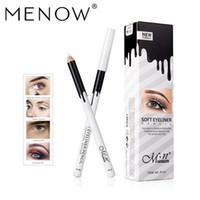 ingrosso 12 set eyeliner-Menow marchio trucco Silky estetica di legno bianco matita del Eyeliner del baco da seta bianco Highlight della penna 12 pc / set P112 Waterproof Eyeliner