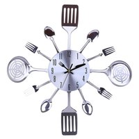 Wholesale kitchen clocks spoons for sale - Group buy Homingdeco Kitchen Wall Clock D Unique Creative Mute Kitchen Utensils Toned Forks Spoons Spatulas Wall Clock Gift Silver Y200109