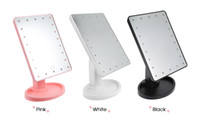 светодиодный фонарик для макияжа оптовых-Hot Sale 360 Degree Rotation Touch Screen Makeup Mirror With 16 / 22 Led Lights Professional Vanity Mirror Table Desktop Make Up Mirror