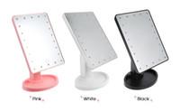 led up lighting para la venta al por mayor-Venta caliente 360 grados de rotación de pantalla táctil espejo de maquillaje con 16/22 luces led profesional espejo de vanidad mesa escritorio espejo de maquillaje