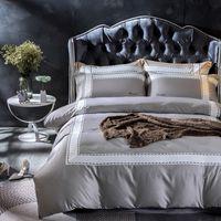 Wholesale grey modern bedding online - Cotton Imitate silk White Grey Queen King size Bedding set Luxury Modern Brief Bed Fit sheet set Duvet cover set Pillowcases