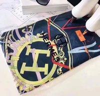 pañuelos de pañuelo al por mayor-2019 Marca bufanda de seda set mujeres lujo cálido diseñador de lujo pañuelos bufandas bufanda de seda más gruesa compras libres