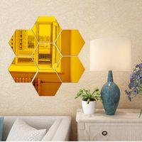 sevimli diy banyo dekor toptan satış-Altıgen Akrilik Ayna Duvar Çıkartmaları Altıgen Dekoratif 3D Akrilik Ayna Duvar Çıkartmaları Oturma Odası Yatak Odası Ev Dekor 12 adet / takım