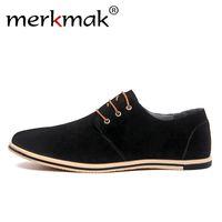 Wholesale casual men elegant shoes for sale - Merkmak Large Size Genuine Leather Shoes Brand Men Casual Shoes Luxury Elegant Mens Dress Business Office Patchwork