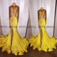 vestido de sirena amarilla raja al por mayor-Sexy Yellow High Slits Vestidos de baile 2k19 Ilusión Manga larga Cuello alto Sirena Larga Africana Negro Niñas Vestido de fiesta Vestido formal