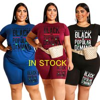 Wholesale sale hockey shirts for sale - Group buy 2020 Women Plus Size Tracksuit Letter Designer Short Sleeve T shirt Top Shorts Set two Piece Outfits Sportswear Casual Clothing SALE D6908