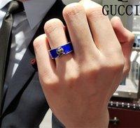 ingrosso anello in argento sterling blu-Anelli in argento sterling massiccio 925 Anelli smaltati blu Modello misterioso Anelli vintage Luxury Designer Uomini di marca gg Anello Gioielli in argento