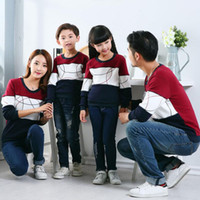 Wholesale father son clothing sets resale online - Casual Family Matching Outfits New Autumn Mother Daughter Clothes Set Father Son Boy Girl Women Men Cotton Family Clothing