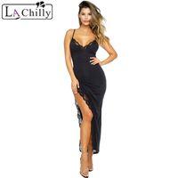 Wholesale black dress side trim for sale - Summer Maxi Dresses Red Black Side Slit Lace Trim Party Spaghetti Strap Dress Women Elegant Lange Jurken LC610193