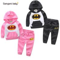bebek batman kıyafetleri toptan satış-Bebek Çocuk Batman Artı Kadife Hoodies Spor Rahat Suits Set Pembe hoodie eşofman Sportwear Çocuk Giyim Setleri cadılar bayramı Cosplay Bez