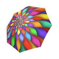 tela paraguas lluvia al por mayor-Arco iris divertido impresión personalizada Plegable Sol Lluvia Plegable Paraguas 100% Tela Aluminio Paraguas Plegable de Alta Calidad