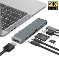 adaptador mini sata ssd venda por atacado-7 em uma USB-C-HDMI adaptador 4K raio 3 5 Gbps TF leitor SD entrada USB 3.0 para Novo MacBook Pro USB-C