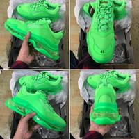 ingrosso zapatos chiaro-Con Box 2019 Triple S Designer Dad Shoes Fashion Migliore qualità Triple-S Zapatos Full Green Clear Sole Uomo Donna Casual Scarpe Sport