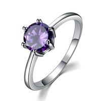 Wholesale free classic solitaire for sale - Group buy LuckyShine New Arrival Silver Round Amethyst Rings Classic Weddings Lover s Couple Rings Jewelry Color s