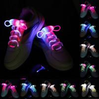 cordones de los zapatos iluminados al por mayor-30pcs (15 pares) Impermeable Light Up LED Cordones Moda Flash Disco Fiesta Brillante Noche Deportes Zapato Cordones Cuerdas Multicolores Luminoso