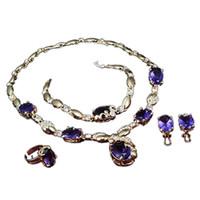 piedras moradas gemas al por mayor-Collar Pendiente Pulsera Anillo Vestido de fiesta Boda Delicada Joyería de las mujeres Set Purple Joya de piedra Colgante Conjuntos de joyería nupcial