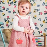 Wholesale little girls baby pink dress resale online - Little maven kids brand clothes autumn baby girls clothes Cotton pink dot sundress girl sleeveless fruit dresses Q0054