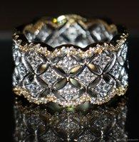 jóia branca mexicana do anel do topázio venda por atacado-220 pcs minúsculo topázio branco jóias de luxo hot 925 prata banhado a ouro rosa simulado diamante gemstones mulheres anéis de casamento para o amante tamanho 5-11