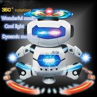batteriebetriebener roboter großhandel-Elektrische Spielwaren tanzen drehenden Roboter mit LED-Licht-Musik-Explosions-Intelligenz-Spielzeug mit batteriebetriebenem direktem China-Großverkauf