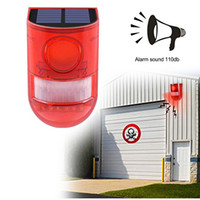 strobe uyarısı toptan satış-Güneş Strobe Aydınlatma, Hareket Sensörü Güvenlik Alarm Acil Açık Yard Kişisel Çiftliği için Işık Kablosuz Bahçe İkaz Lambası Strobe LED