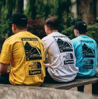 hip hop japonês venda por atacado-Hip-hop estilo japonês neve montanha impressão manga curta t-shirt Marca de moda homens mulheres gola camiseta adolescente skate solto topo