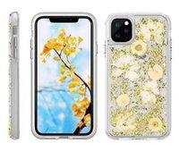 bolsa iphone flor al por mayor-Para iPhone 11 Pro Max TPU PC híbrido hizo con el Real Flores Delgado Diseño funda protectora con OppBag