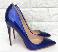 königliche blaue schuhe für frauen hochzeit großhandel-neue königsblaue Lackleder Cusp Fine Heel Damen High Heel Schuhe 8 cm 10 cm 12 cm Big Code 44 Bankett Nachtclub Hochzeit rote untere Schuhe