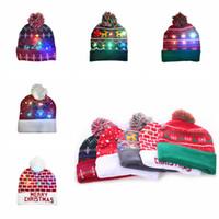 Wholesale kid crochet hat resale online - LED Christmas Knitting Hat Led Lighting Pom Beanie Kids Adult Snowflake Xmas Crochet Hats Lights Knitted Ball Cap Party Favor RRA2456
