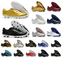 Mens Tiempo Legend Premier II 2.0 FG 7 VII R10 Elite FG scarpe da calcio stivali basse tacchetti alla caviglia Retro football Oro bianco Nero