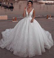 perles moyen orient achat en gros de-Glamour sans manches col en V au Moyen-Orient robes de mariée robe robe de bal sans manches en dentelle robes de mariée perles robes de soirée informelles faites sur mesure
