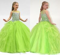 Wholesale yellow flower girl dress strapless resale online - 2020 Custom Made Olive Green Ball Gown Bateau Sheer Crystals Girl s Pageant Dresses Ruffles A Line Flower Girl Dresses Formal Party Gowns