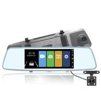espejos retrovisores gps al por mayor-Hermoso espejo retrovisor delantero 170 grados Gran ángulo de visión DVR para coche 7 pulgadas LCD Starlight Dash Cámara DVR Grabadora